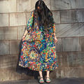 Outono Vestido de Algodão de Linho Mulheres Plus Size Vestido Estampado Floral Cintura solta Três Quartos Manga Longa Vestido O Long Neck Robe