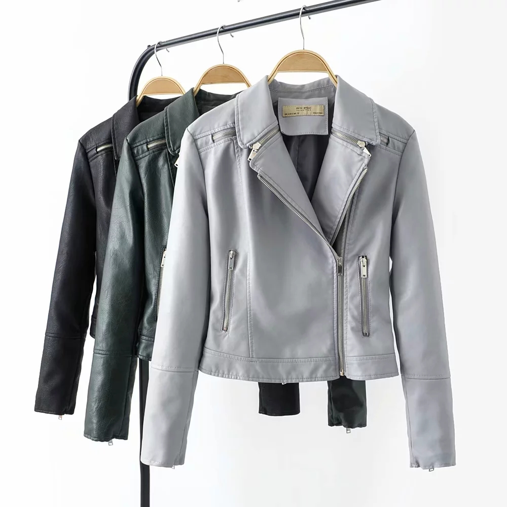 stylish women PU   leather   jackets Elegant cool ladies fashion Solid moto-bikers short jacket zippers coat female outerwear