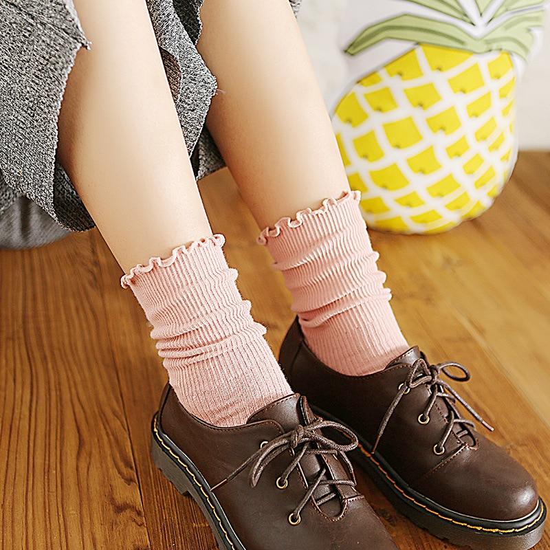 Spring Ruffles   Socks   Cotton Ankle Lovely Frilly Edge Girls' Women   Socks   Sweet Casual Short Tube Lady Vintage   Socks   Meia