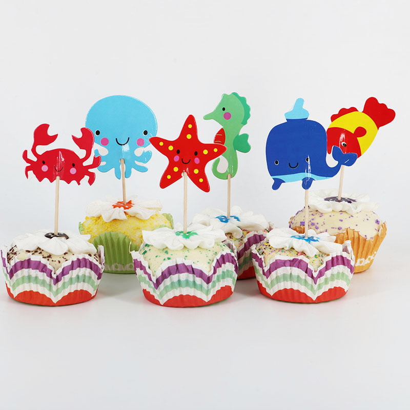 24pcs/lot  Underwater animals Cartoon Theme Party Supplies Cupcake Toppers Pick Kid Birthday Cake Decorating Supplies
