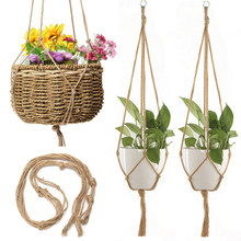 Macrame Boho Plant Hanger Basket Linen Rope Planter Net Bag Wedding Decoration Hanging Basket Jute Rope Pot Holder(China)