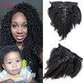 Afro Kinky Curly grampo em extensões do cabelo cabelo humano barato clipe Ins para as mulheres negras Mongolian virgem grampo de cabelo em extensão 120 g