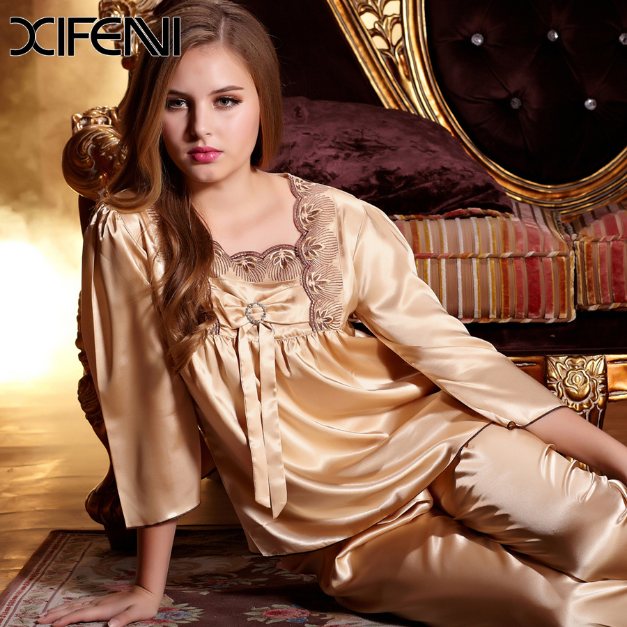 f4ca12a4e6f3 Spring Luxury Gift Golden Pyjamas Womens Loungewear Silk Ladies Pyjamas Uk Plus  Size