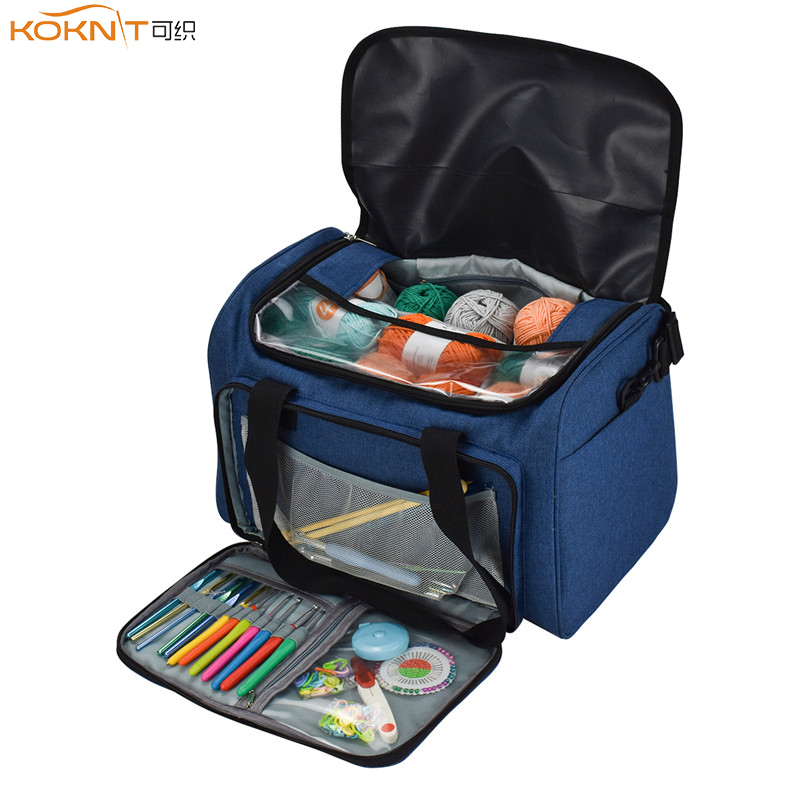 KOKNIT Empty Yarn Storage Bag Household Portable Tote Storage Case for Wool Crocheting Hook Knitting Needles Sewing Accessories