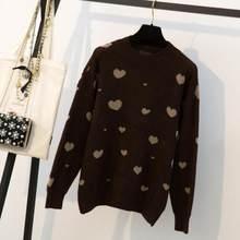 Moda Otoño Invierno estilo coreano de manga larga de las mujeres sueltos  jerseys-coincidentes casuales amor cálido suéter señora. af60d811a54fa