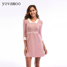Yovamoo Sweet Doll Collar Three Quarter Sleeve Patchwork Vintage Knitting Pleated Dresses Plus Size Summer Dress 2018