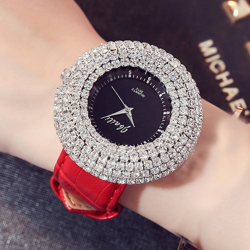 New Fashion Shinning Crystal Diamond Dial Bracelet Set Women Watches Leather Luxury Top Brand Unique Dress Ladies Wrist Watches fashion brand women watches ladies luxury female genuine leather strap dress clocks full diamond big dial dress relogio watches