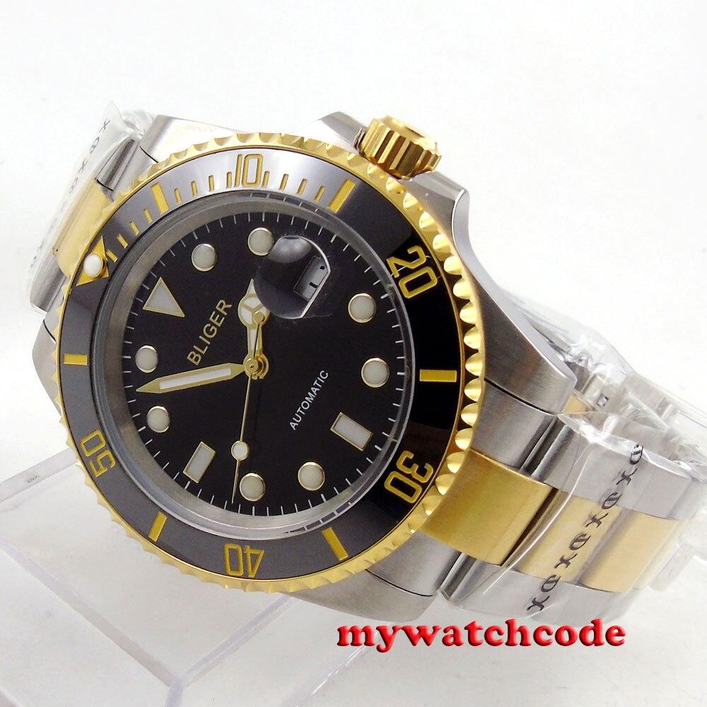 лучшая цена 40mm Bliger black dial ceramic bezel date automatic movement mens watch B122