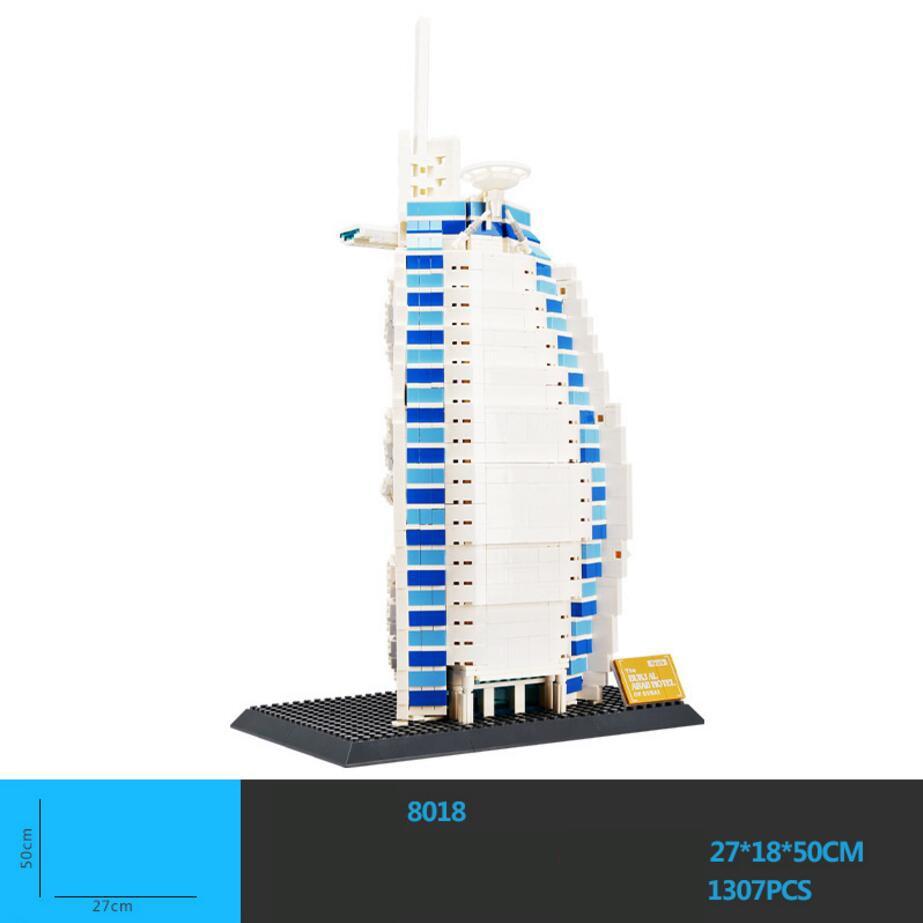 Hot World Famous Architecture Burj Al Arab Dubai The United Arab Emirates Building Block Model Bricks Educational Toy Collection 2017 world famous architecture burj al arab dubai the united arab emirates building block model standard brick size city toys