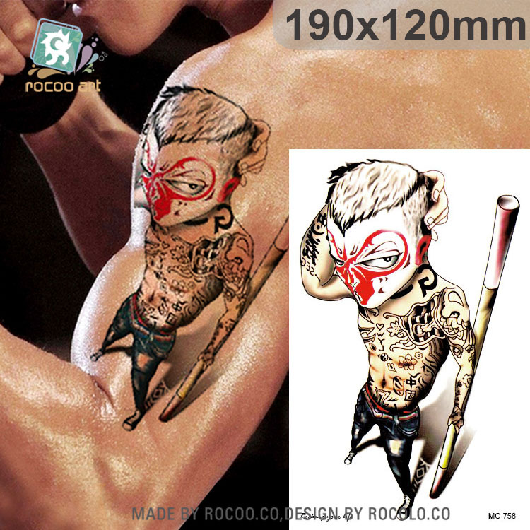 individuality waterproof temporary tattoos for men and women Wolf roar design large arm tattoo sticker Free Shipping SC2908 5