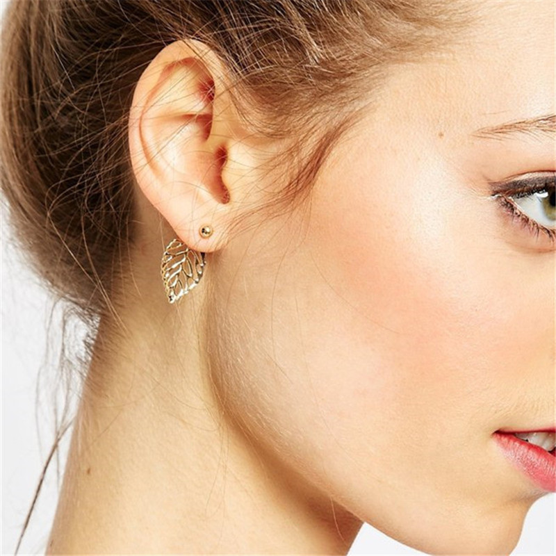 Fashion Leaf earring gold sliver color for women plant drop earring high quality metal cute girl gift jewelry wholesale
