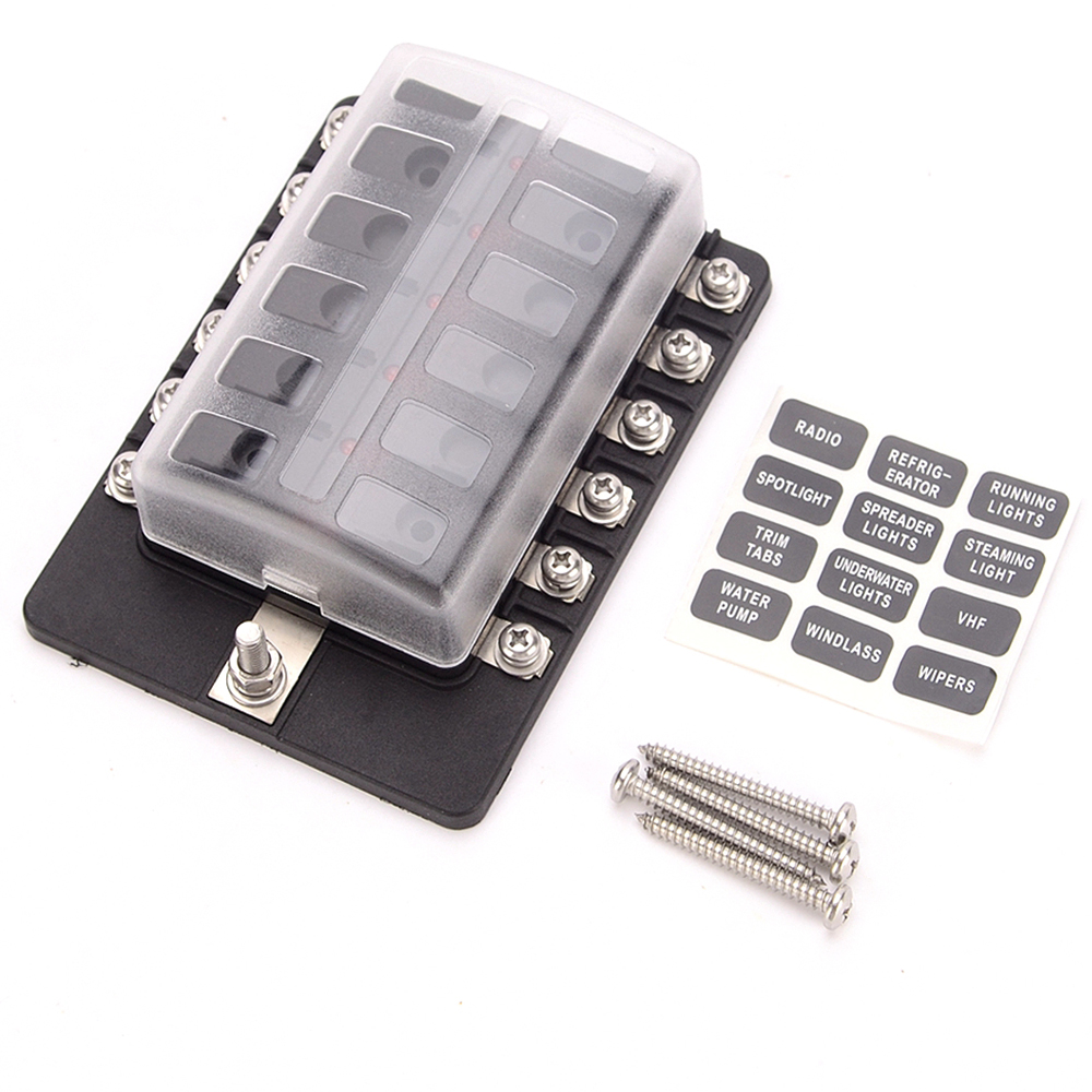 Buy 12 Way Car Blade Fuse Block Truck Marine Boat Box Not Working With Spade Terminals M5 Threaded Studs 100a 32v Dc Input From Reliable