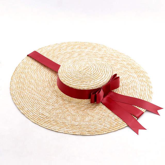 placeholder Muchique Wide Brim Straw Boater Hat for Women Ladies Beach  Vintage Summer Sun Hats 8ee3897d97e