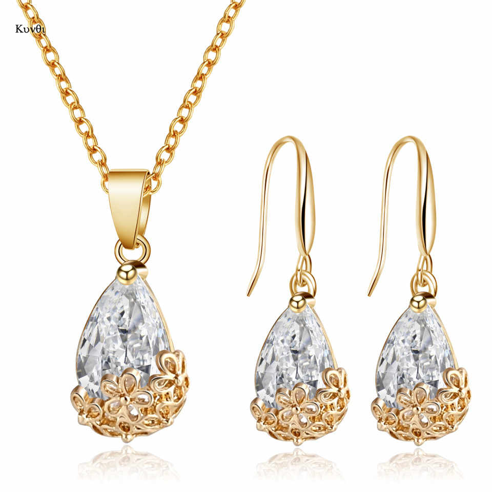 New Gold Jewelry Sets Carving Flower Water Drop Clear Zircon Pendant Chain Necklace Hook Earrings for Women Wedding Jewelry