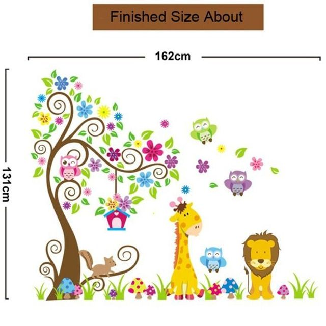 Kids nursery decor forest giraffe lion owl tree wall sticker pvc decal mural art