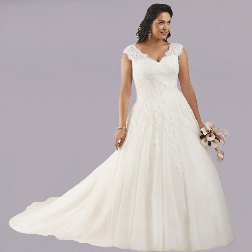 W3106 Plus Size V Neck With Lace Long A Line Tulle Wedding Dresses 2015 Bridal Gown Vestido De Novia
