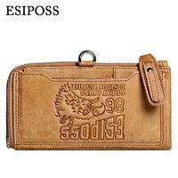 ESIPOSS Men Wallet Top Genuine Leather Dull Polish Purse Fashion Casual Long Male Clutch Wallets Carteira