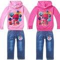 Meninas Novo Trolls Cartton Roupas Crianças conjuntos de Roupas Meninas T-shirt camisola Denim Calças de Algodão Trajes Terno Roupas Conjuntos