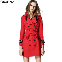 OKXGNZ High Quality Spring Women's Jacket 2017 New Fashion Solid Color Ladies Windbreaker Double-breasted Women Basic Coats A202