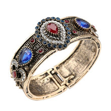 Vintage Women Wide Bangles Alloy Crystal Resin Luxury Lady Bangles Jewelry Accessories Gift CX17