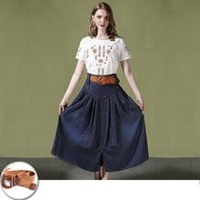 Womens Summer Cotton Paneled Elastic Waist Skirt Soft Skinny Long Pleated High Slim Split Denim