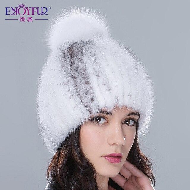 ENJOYFUR настоящие норковые меховые шапки женские зимние Меховая шапка женская с лисьим мехом помпоном топ высококачественные роскошные женские трикотажные бобы