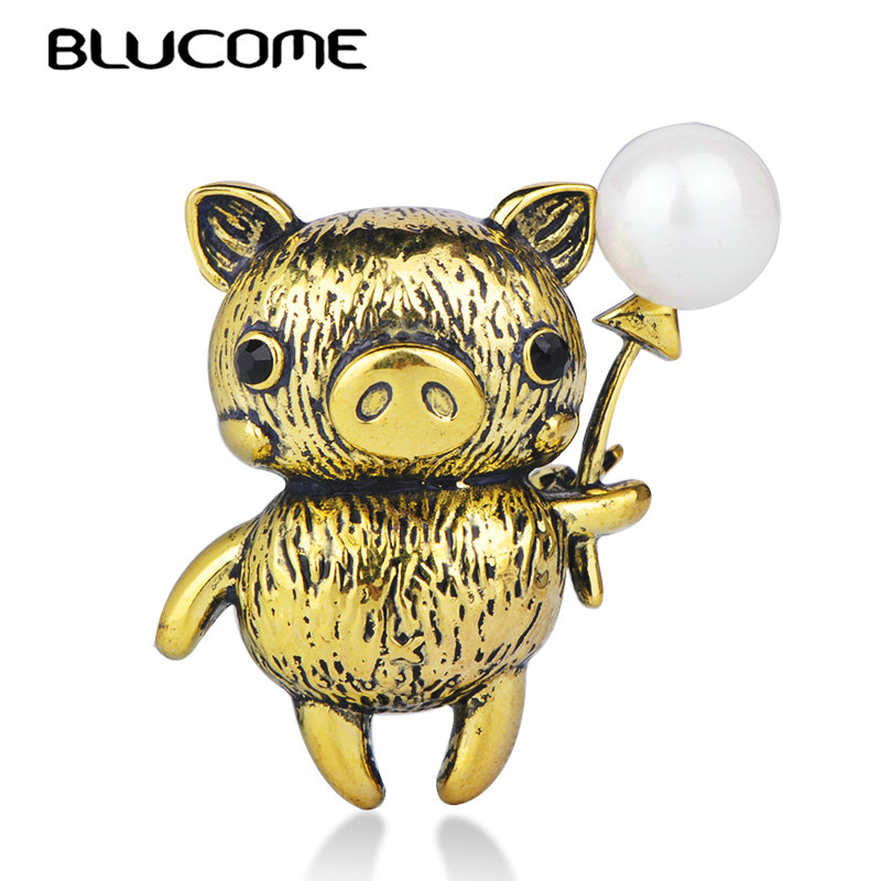Blucome Cute Pig Shape Brooch Antique Gold Color Simulated P