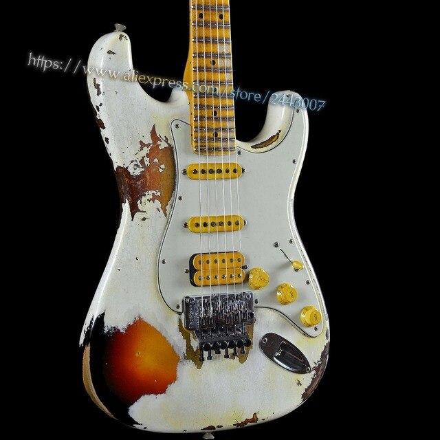 Gc Custom 1960 Ssh Heavy Relic White Lightning Electric Guitar Over 3 Tone Sunburst 22 Fret