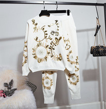 Chic embroidery womens sets 2019 spring autumn sequins sweaters+casual pants Women knitted sweat suit  G066