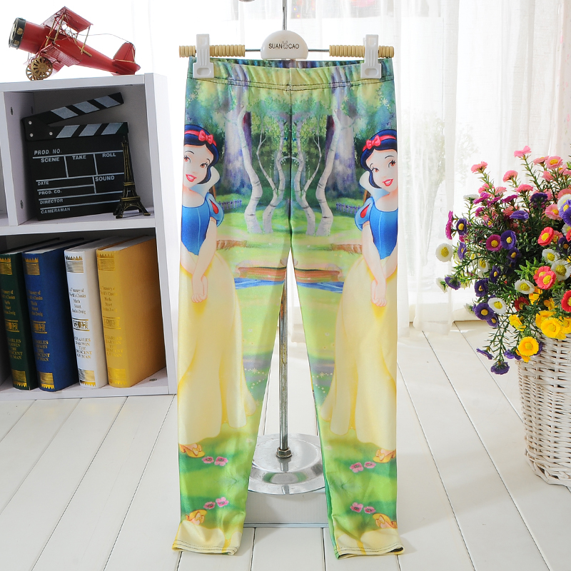 NEW 1032 Cute Kids Children Girl Cartoon Snow White princess 3D prints Walking Elastic Fitness Women Leggings Pants