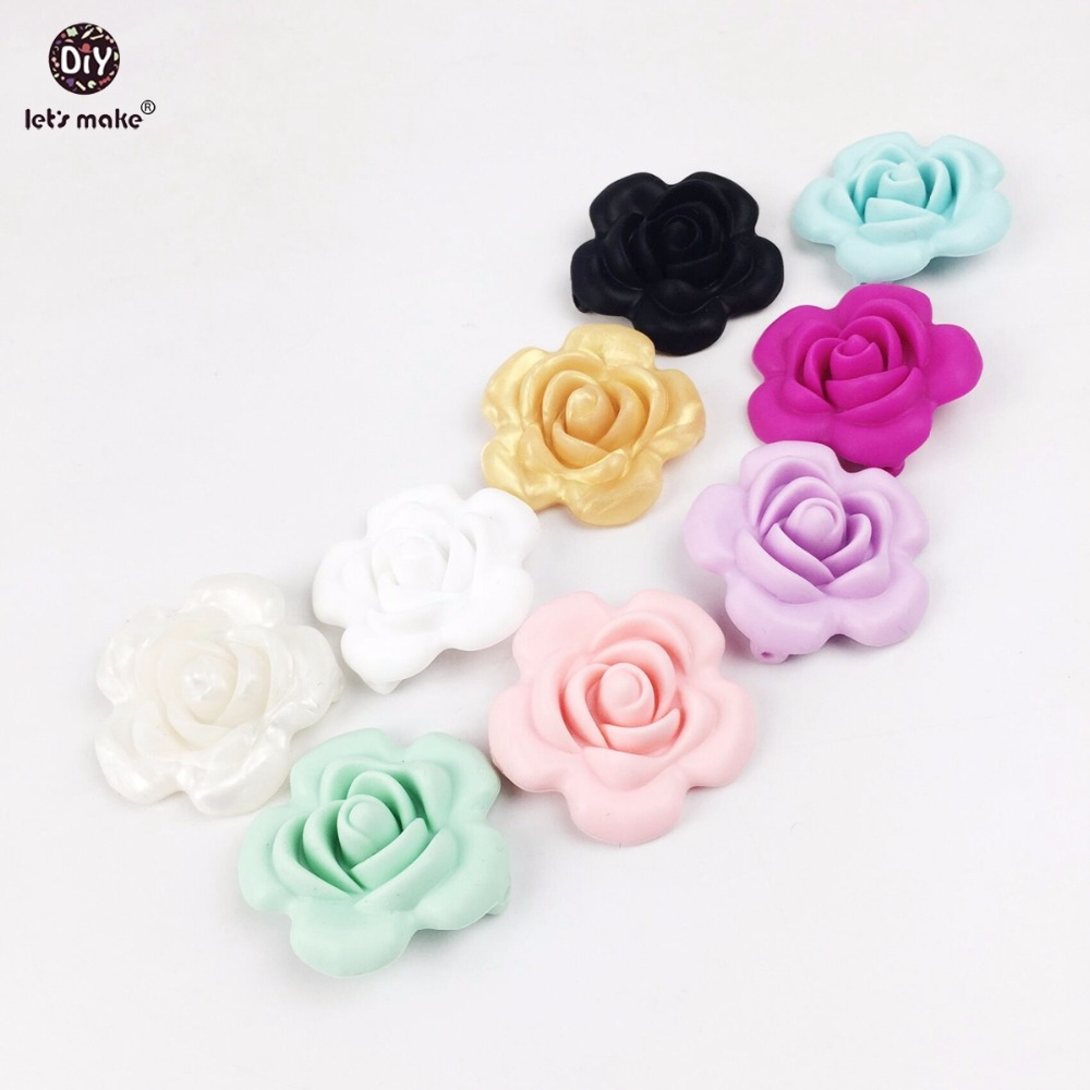 Jewelry & Accessories Pendants Teeny Teeth 10 Pcs Silicone Teething Rose Flower 3d Baby Accessories Diy Crafts Flower Beads Baby Toys Silicone Pendants Beads