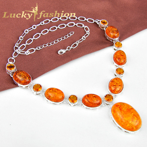 Luckyshine new fashion Created Amber Jewelry for women silver plated statement Chain necklaces
