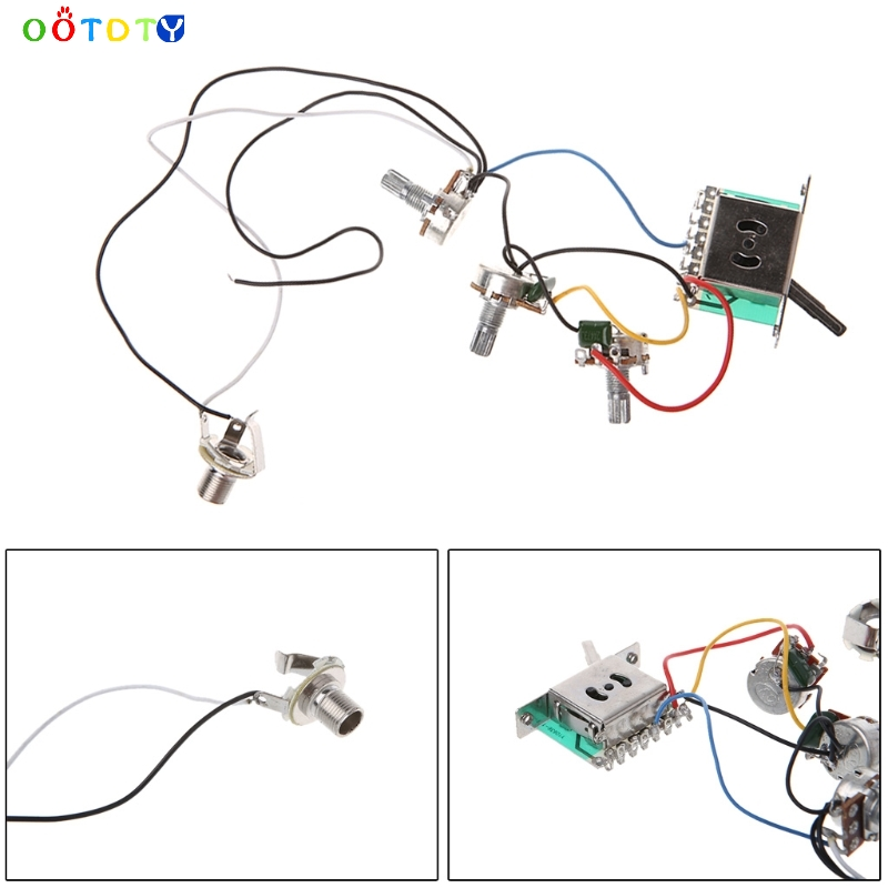 3 pickup guitar circuit wiring harness prewired with a500k. Black Bedroom Furniture Sets. Home Design Ideas