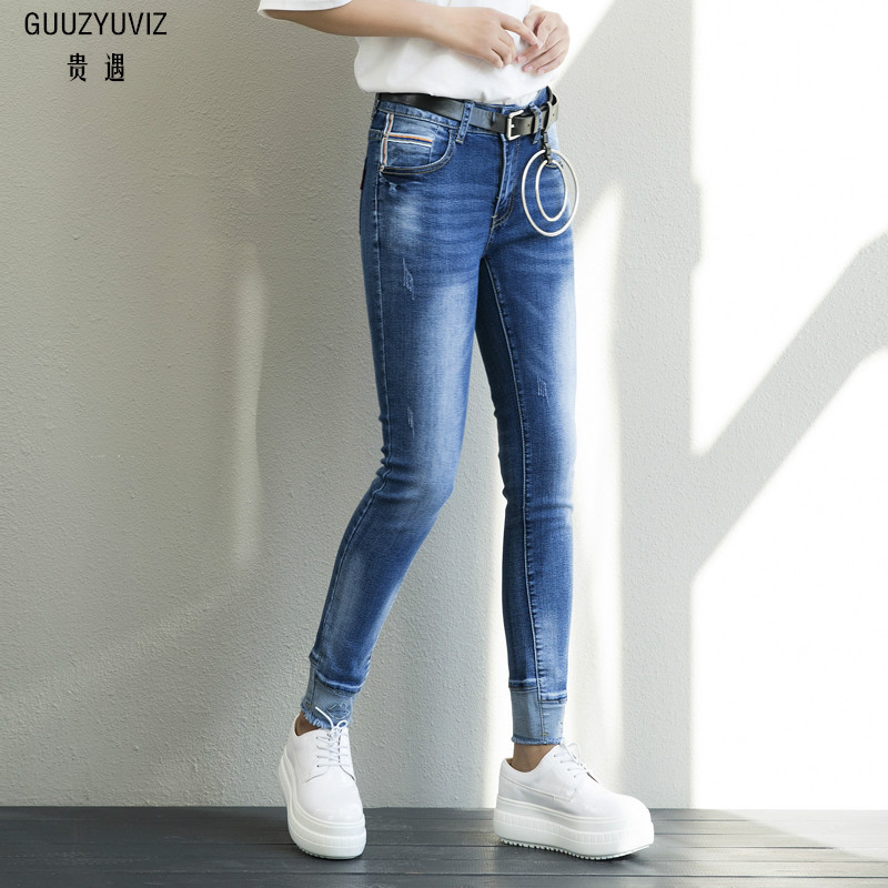 Guuzyuviz Plus Size Autumn Winter Denim Cotton Elasticity Harem Pants Casual High Waist Washed Jeans Woman Jeans