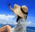 Comercio al por mayor de Las Mujeres Grandes Brim Floppy Sombrero de Paja de Las Mujeres de Ala Ancha De Rafia Sombreros de paja 2017 Pretty Ladies Summer Sun Casquillo de La Señora Casquillo de la Playa