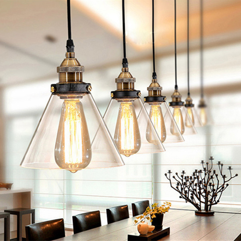 Industrial Pendant Lighting For Kitchen Vintage Lights Glass Lamp Fixtures