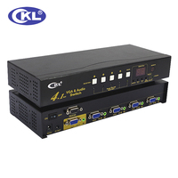 CKL 41S 4 Port Auto VGA Audio Switch Box 4 in 1 out Video Switcher 2048*1536 450MHz for PC Monitor wih IR Remote RS232 Control