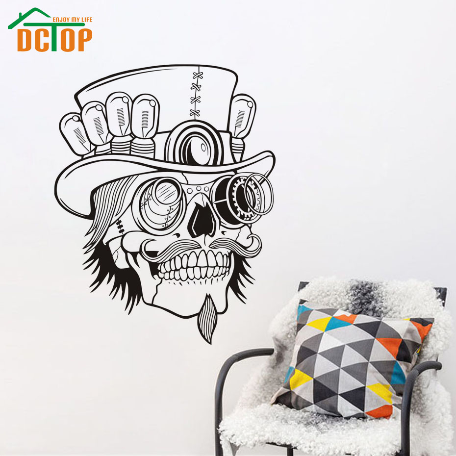 Western Home Decoration Sugar Skull Wall Stickers Living Room Removable Creative Wall Decals Sticker