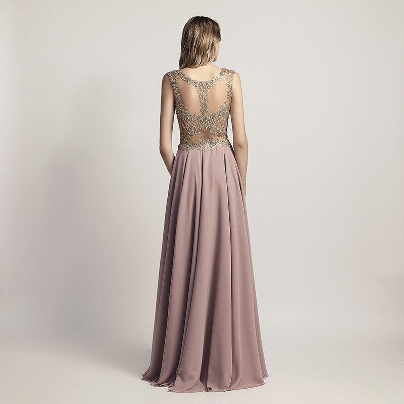 Sleeveless Chiffon Sheer Neck Illusion Back Long Bridesmaid Dress 4