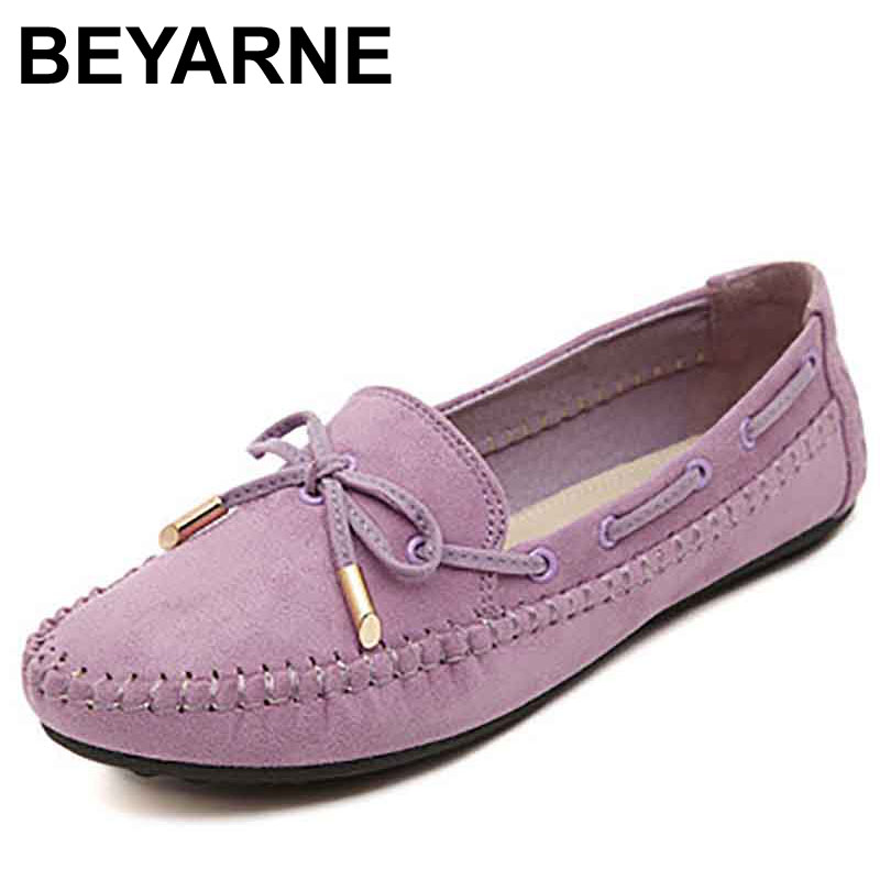BEYARNE Spring Round toe Flats Ladies Loafers Lace-up Casual Shoes Woman with Solid color Pigskin Leather Fit to Driving