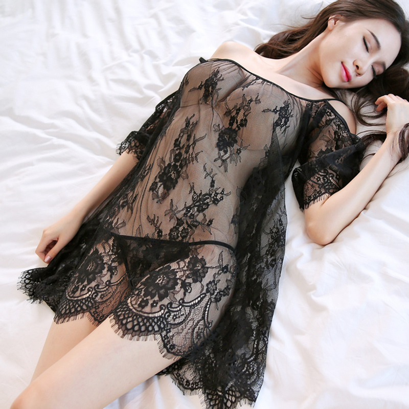 Lace Night Dress See Through Lingerie Nightgown Mini Nightwear Women Sleep Dress Night Gown Sleepwear Sexy White Black
