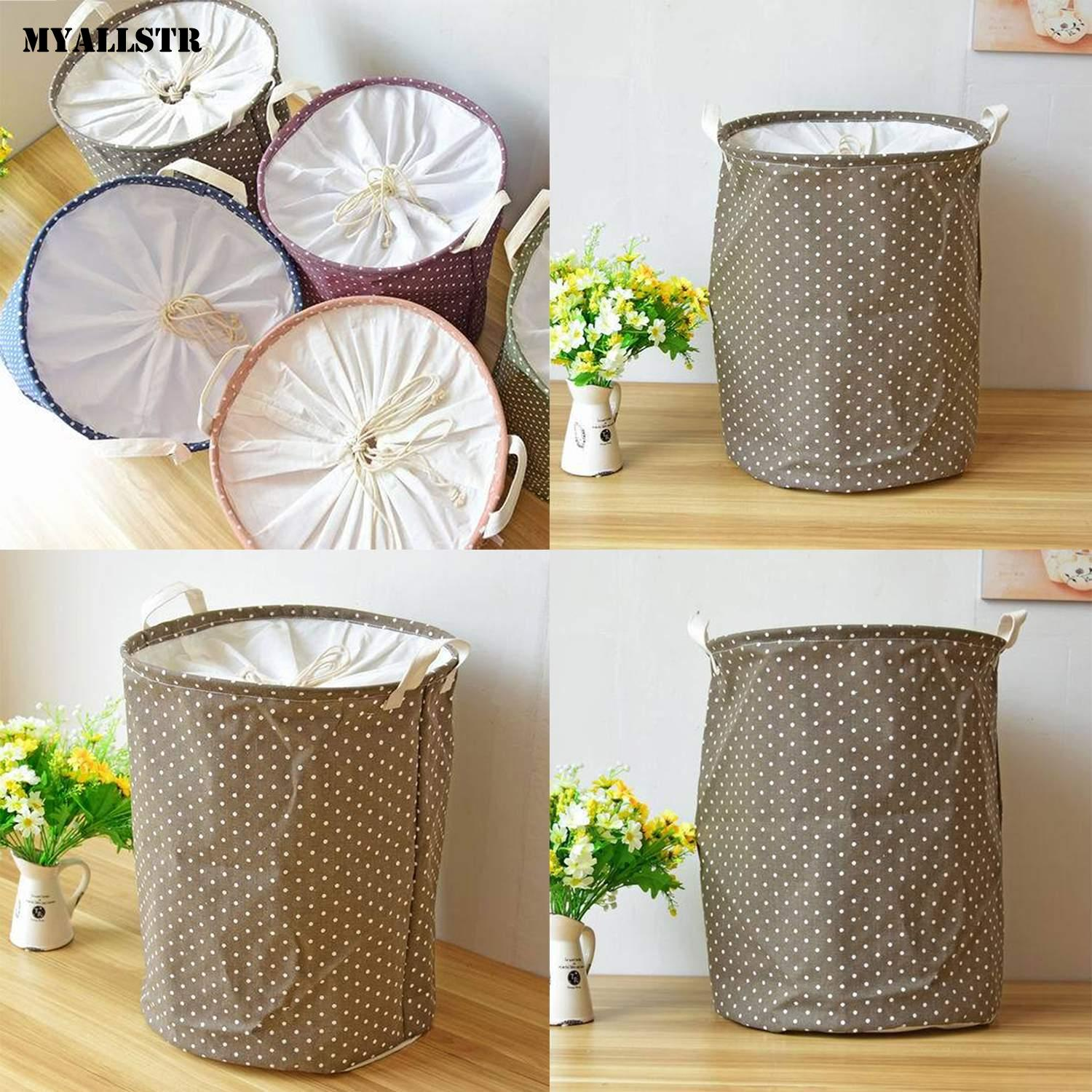 Multi-function Foldable Waterproof Laundry Basket Toys Coffee Storage Bucket Dot 300g Indoor With Cover