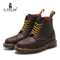 Vintage Retro Platform Floral Brogue Martin Boots Oxford Shoes For Women British Booties Girls Ladies Rufous