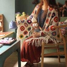 hot sale DIY triangle with tassels scafts cushion carpet Hand hooked fashion crochet blanket cushion felt