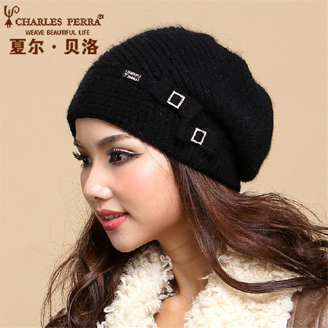 Charles Perra 2019 NEW Women Hats Winter Thicken Double Layer Thermal  Knitted Hat Elegant Casual Wool Cap Skullies Beanies 2856 45d6a7dfb19