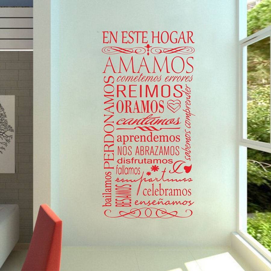 Free shipping wall decals spanish en este hogar stickers for livingroom dining hall and entrance with removable self adhesive