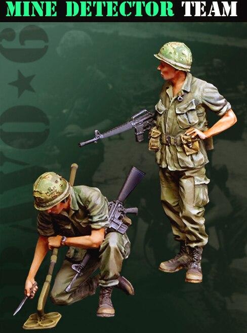 1/35 US Mine Detector Team Include 2 Man     Resin Figure Model Kits Miniature Gk Unassembly Unpainted