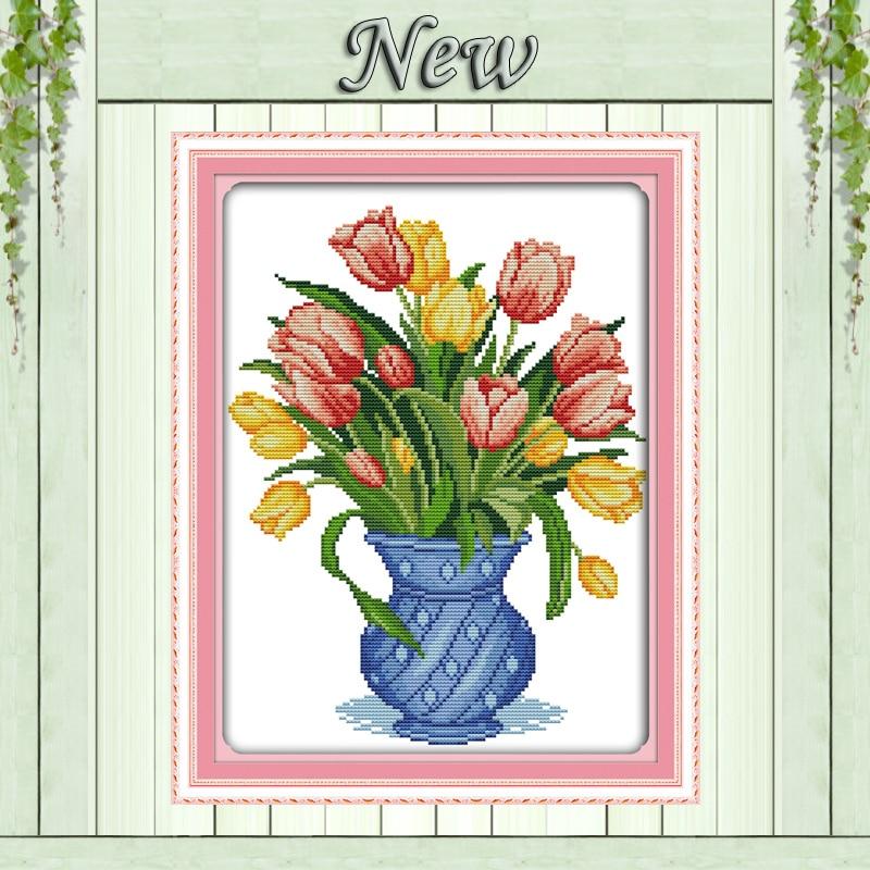 Barvita vaza za tulipane, vzorec na platnu DMC 11CT 14CT komplet s - Umetnost, obrt in šivanje