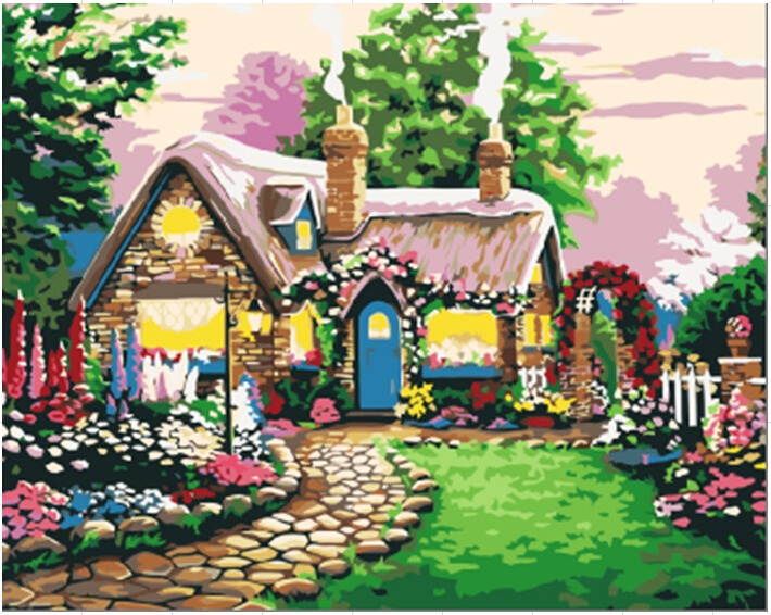 Fairy Tale Cottage 40 50cm Pictures On The Wall Painting By Numbers Oil Painting Vintage Home Decor Cuadros Decoracion E016