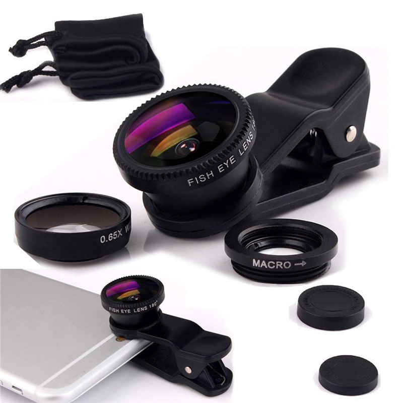 Camera Lens Kit 3&1 Phone Wide Angle Macro Lens Fish Eye